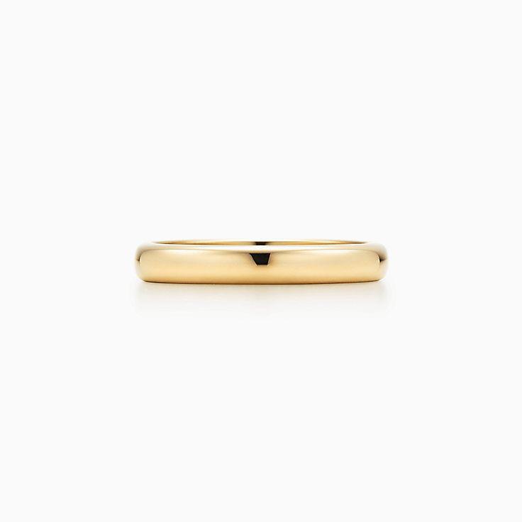Tiffany Clic Wedding Band Ring In 18k Gold 3 Mm Wide