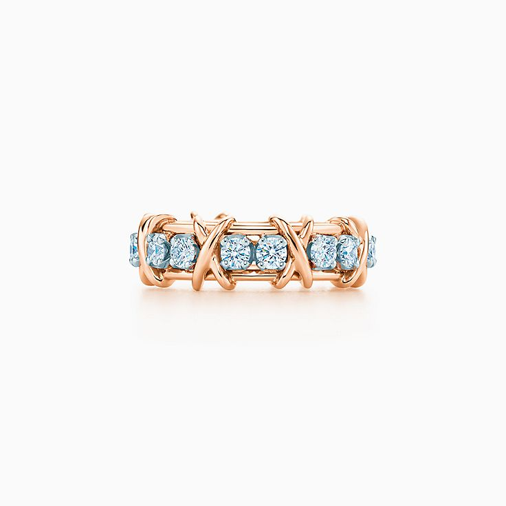 750400311bb0 Anillo Tiffany   Co. Schlumberger Sixteen Stone en oro rosa 18k con  diamantes.