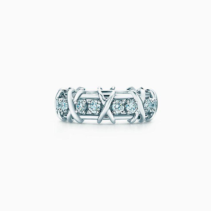 Schlumberger Sixteen Stone Ring aus Platin mit Diamanten