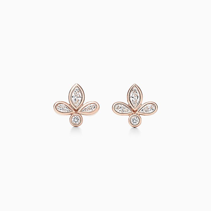 earrings in top four round stud studs diamond gold jewellery view white prong earings