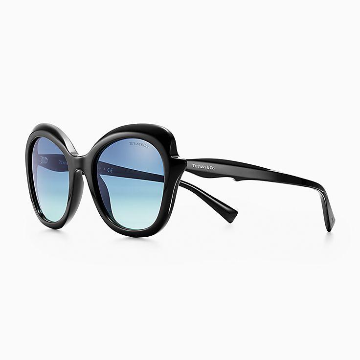 Gafas de sol rectangulares de Tiffany Paper Flowers en acetato negro. a858b6805135