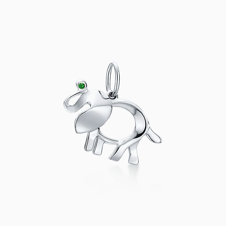 Tiffany Save the Wild elephant brooch in silver with a tsavorite, small Tiffany & Co.