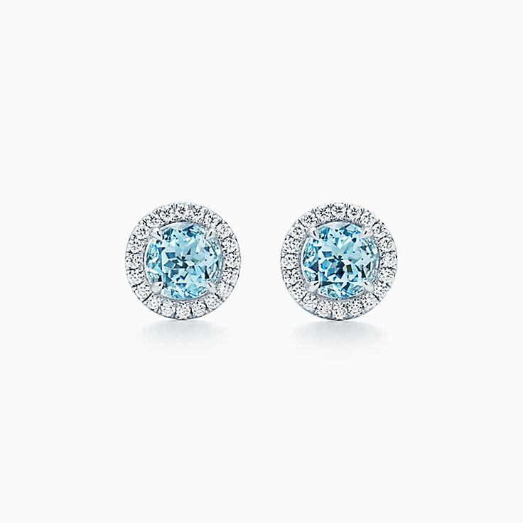 Tiffany Soleste Earrings In Platinum With Aquamarines And Diamonds