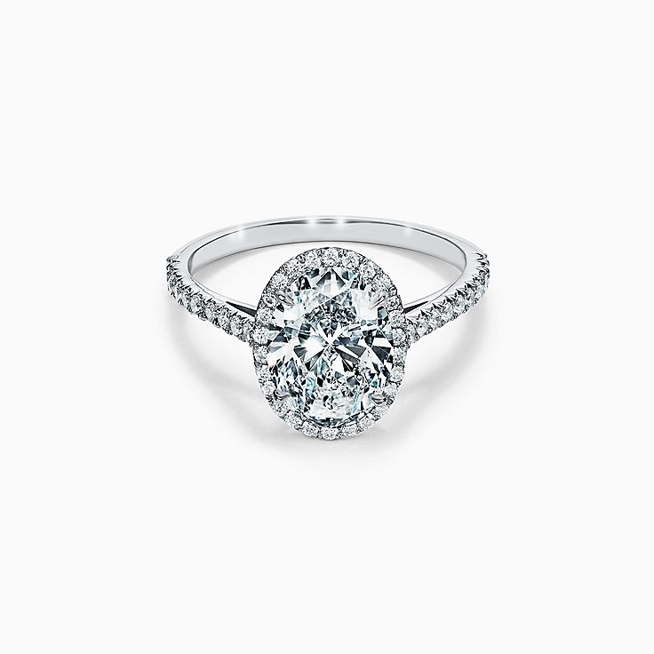 Tiffany Soleste Oval Halo Engagement Ring With A Diamond Band In Platinum Tiffany Co