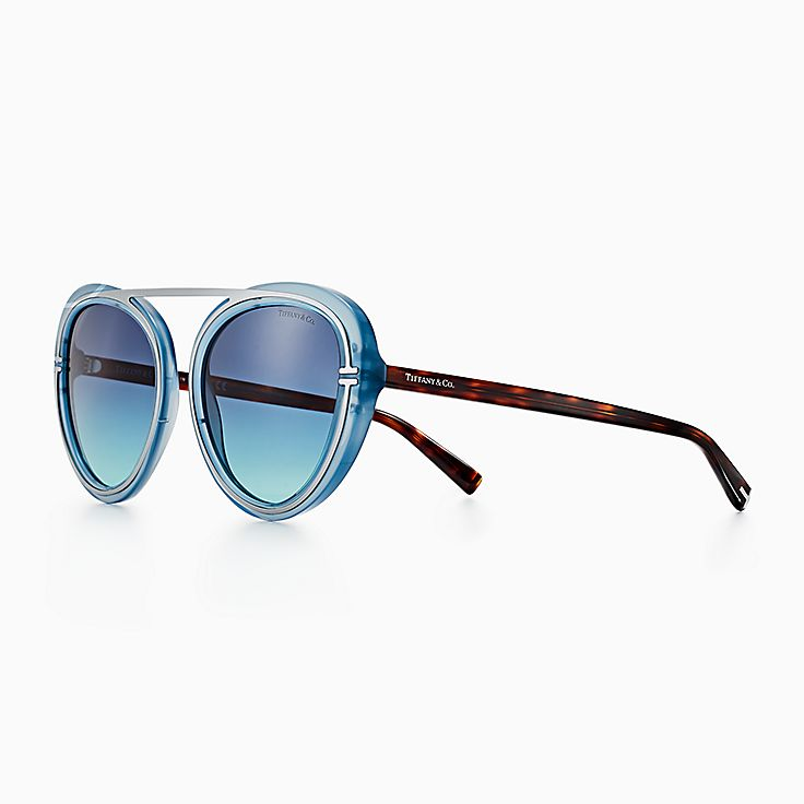 fcd679941b Tiffany T aviator sunglasses in light blue acetate and silver-coloured  metal.