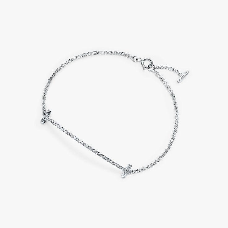 47fd5781e Tiffany T smile bracelet in 18k white gold with diamonds, medium.