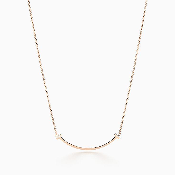 Tiffany T smile pendant in 18k rose gold, mini.