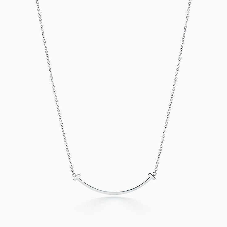18kt white gold Tiffany T smile diamond pendant necklace - Metallic Tiffany & Co. 1lhVD