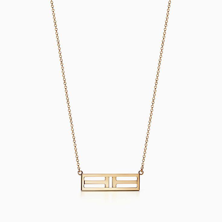 18k gold necklaces pendants tiffany co httpsmediatiffanyisimagetiffanyecombrowsemtiffany t two open horizontal bar pendant 60991243985534sv1gopusm100100 aloadofball Choice Image