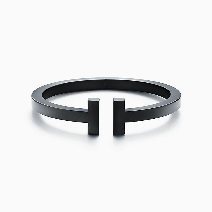 Tiffany T Square Bracelet In Black Coated Steel Medium Tiffany Co