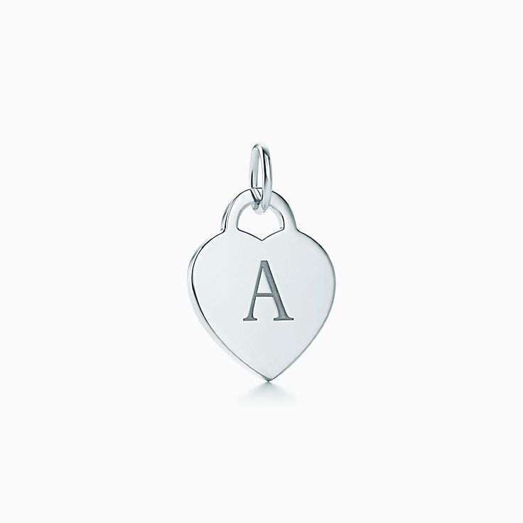 cce03df48 Alphabet heart tag letter charm in silver on a chain. Letters A-Z ...
