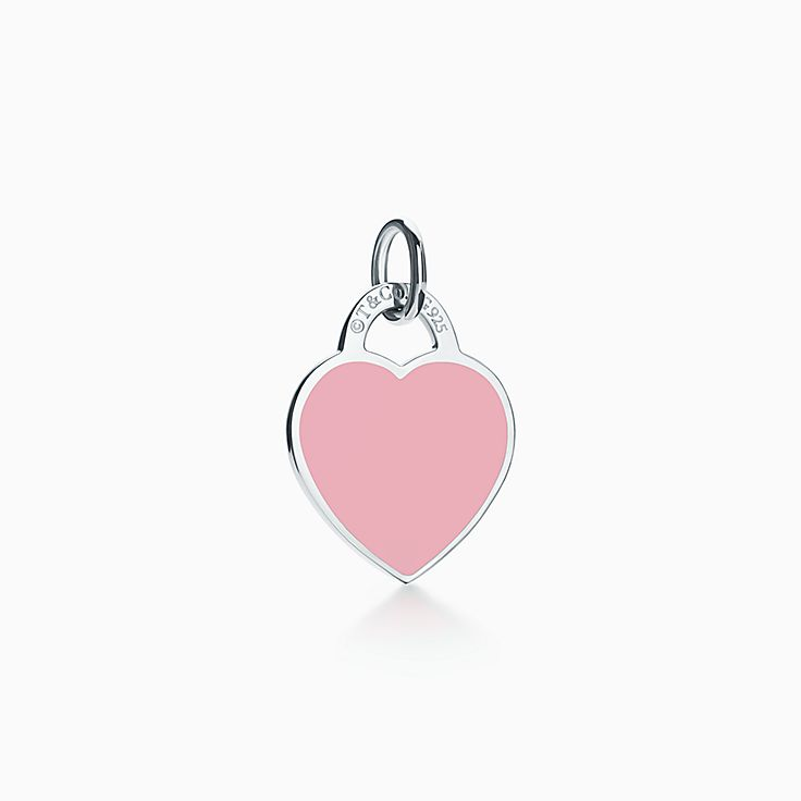 Return To Tiffany Heart Tag Charm In Sterling Silver And Pink Enamel Small Tiffany Co