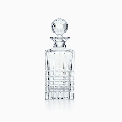 Plaid square decanter in crystal.