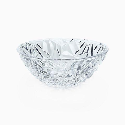 """Rock-cut bowl in crystal, 6"""" diameter."""