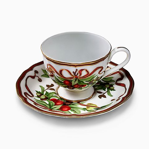 Tiffany Holiday™ cup and saucer in porcelain.