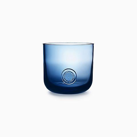 Tiffany Seal ice bucket in ink blue lead crystal.
