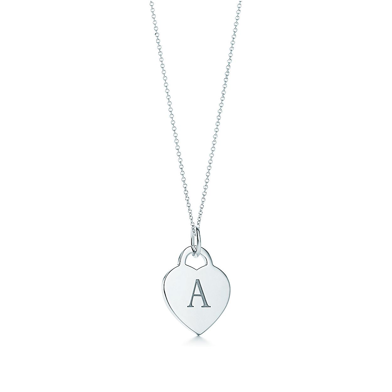 ebbd29d626bd Alphabet heart tag letter charm in silver on a chain. Letters A-Z ...