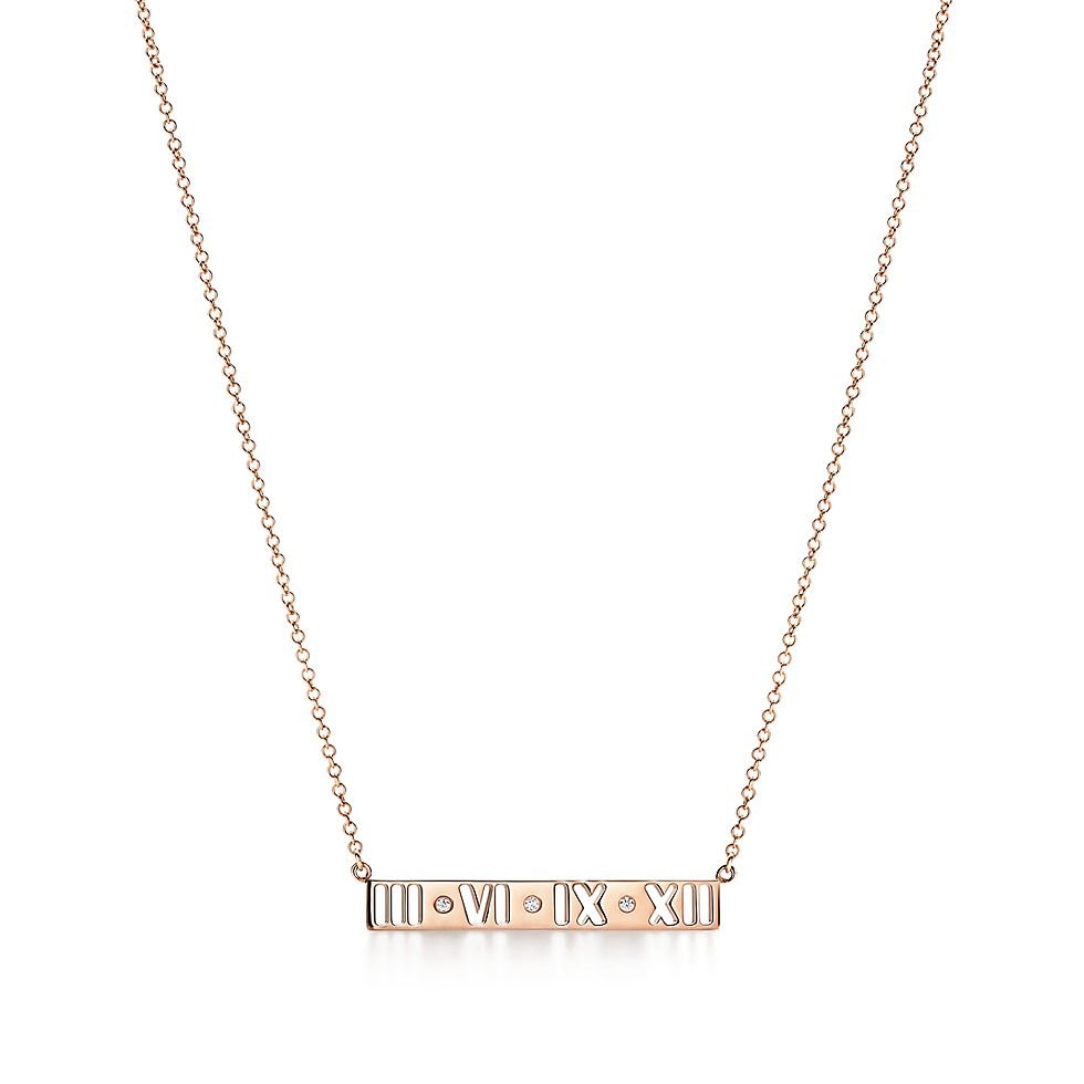 10dbb5e98c8f Atlas® pierced bar pendant in 18k rose gold with round brilliant diamonds.