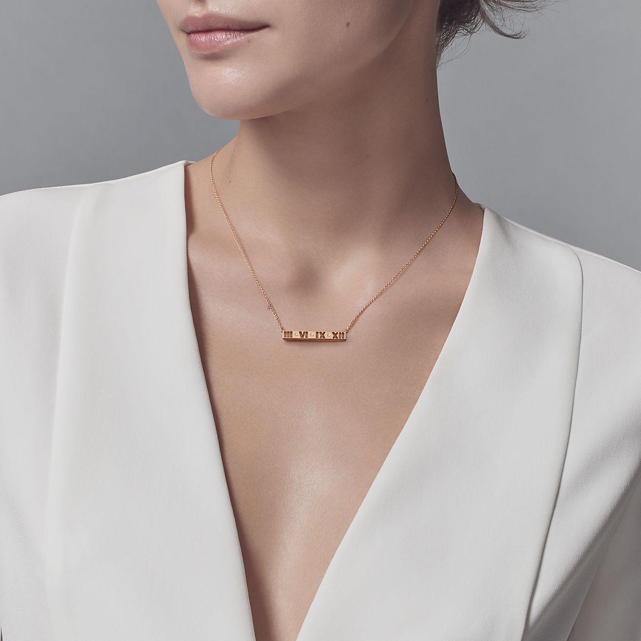 0d30e9b4f Atlas® pierced bar pendant in 18k rose gold with round brilliant ...