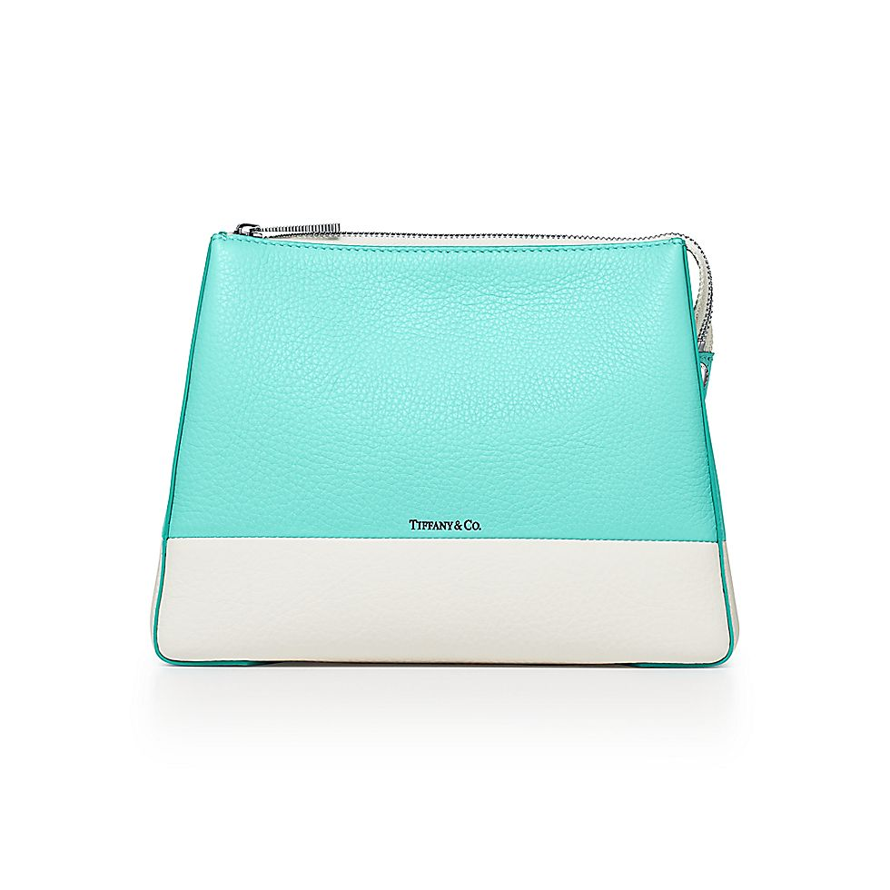 bc285354597 Color Block Tall Cosmetic Case In Off White And Tiffany Blue. Tiffany Co  Cosmetic Bag ...