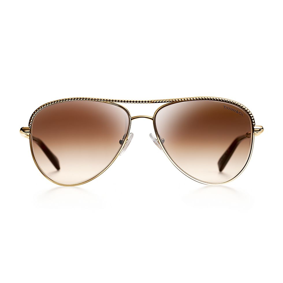 460dc19beba5 Diamond Point aviator sunglasses in gold-colored metal.