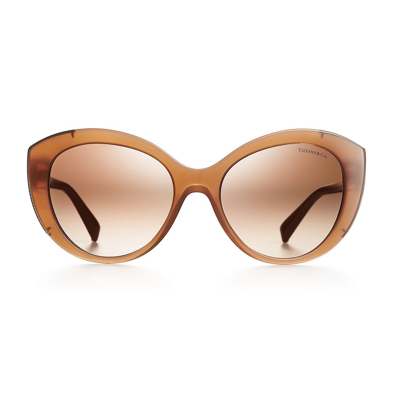 62c20b65e84e Diamond Point cat eye sunglasses in camel acetate and pale gold ...