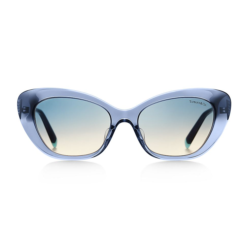 189ce837518 Diamond Point cat eye sunglasses in dark blue acetate with silver-colored  metal.