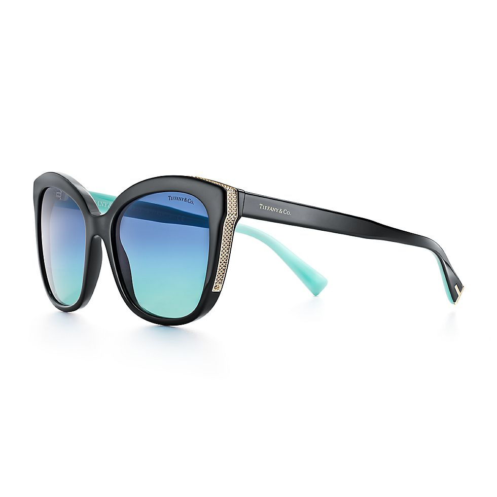b709a9d11c41 Diamond Point square sunglasses in black acetate and pale gold-colored  metal.