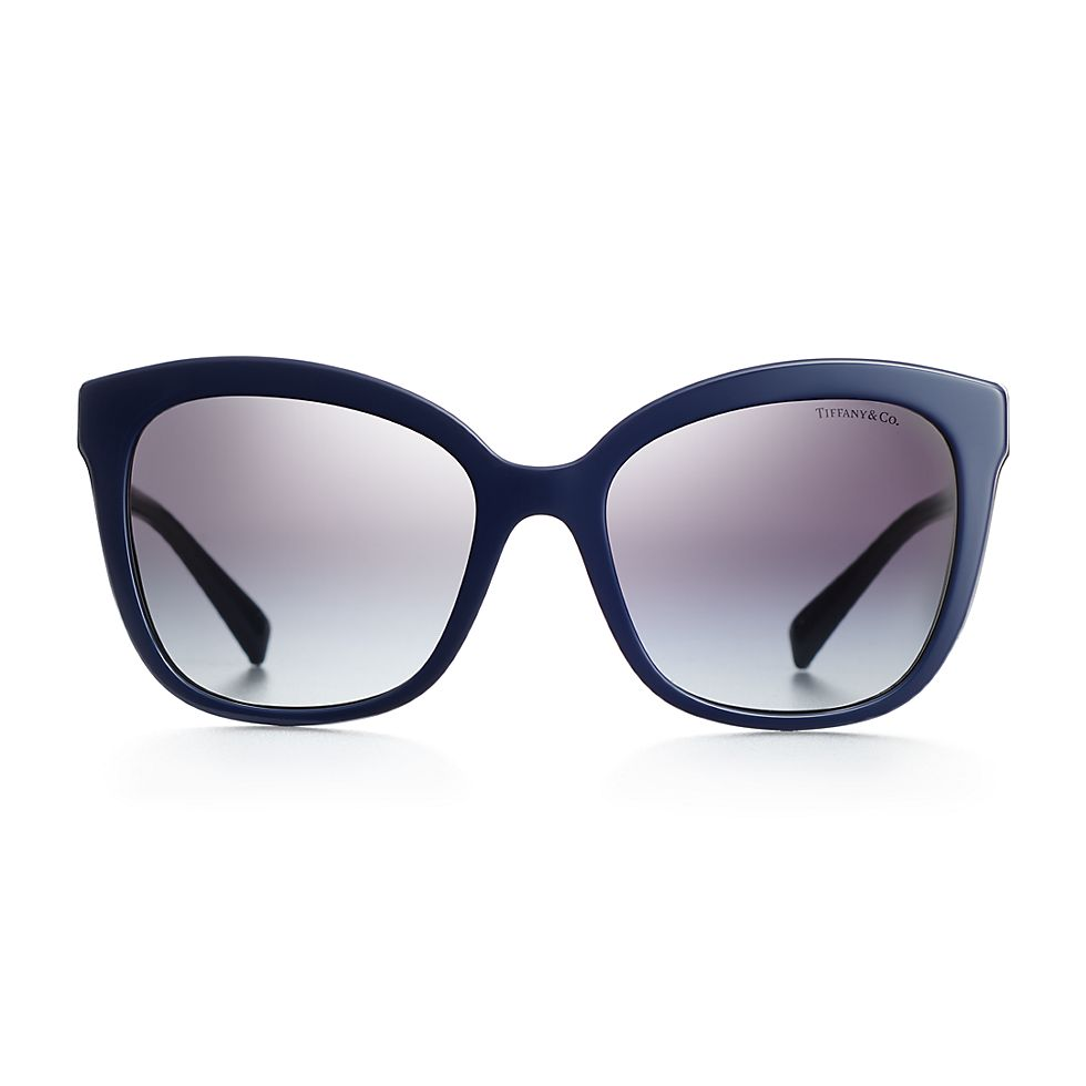 2b1aaa47f6c7 Diamond Point square sunglasses in blue acetate and silver-colored metal.