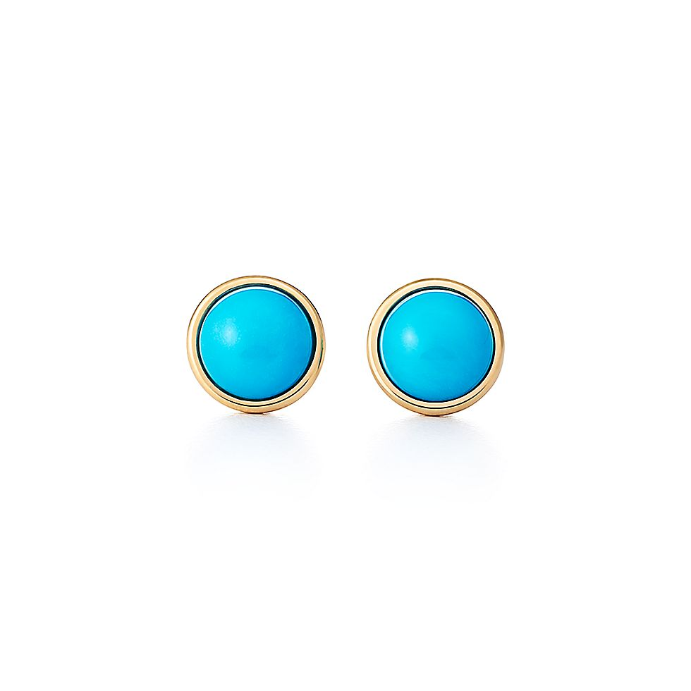 4a1daf9b4e5 Elsa Peretti® Color by the Yard earrings in 18k gold with turquoise  cabochons.