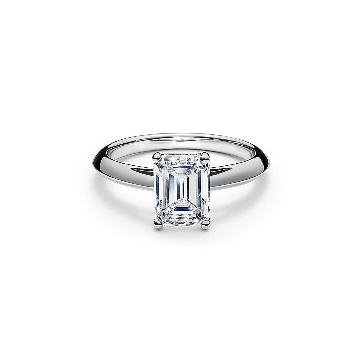 Diamond Wedding Rings.Emerald Cut Diamond Engagement Ring In Platinum
