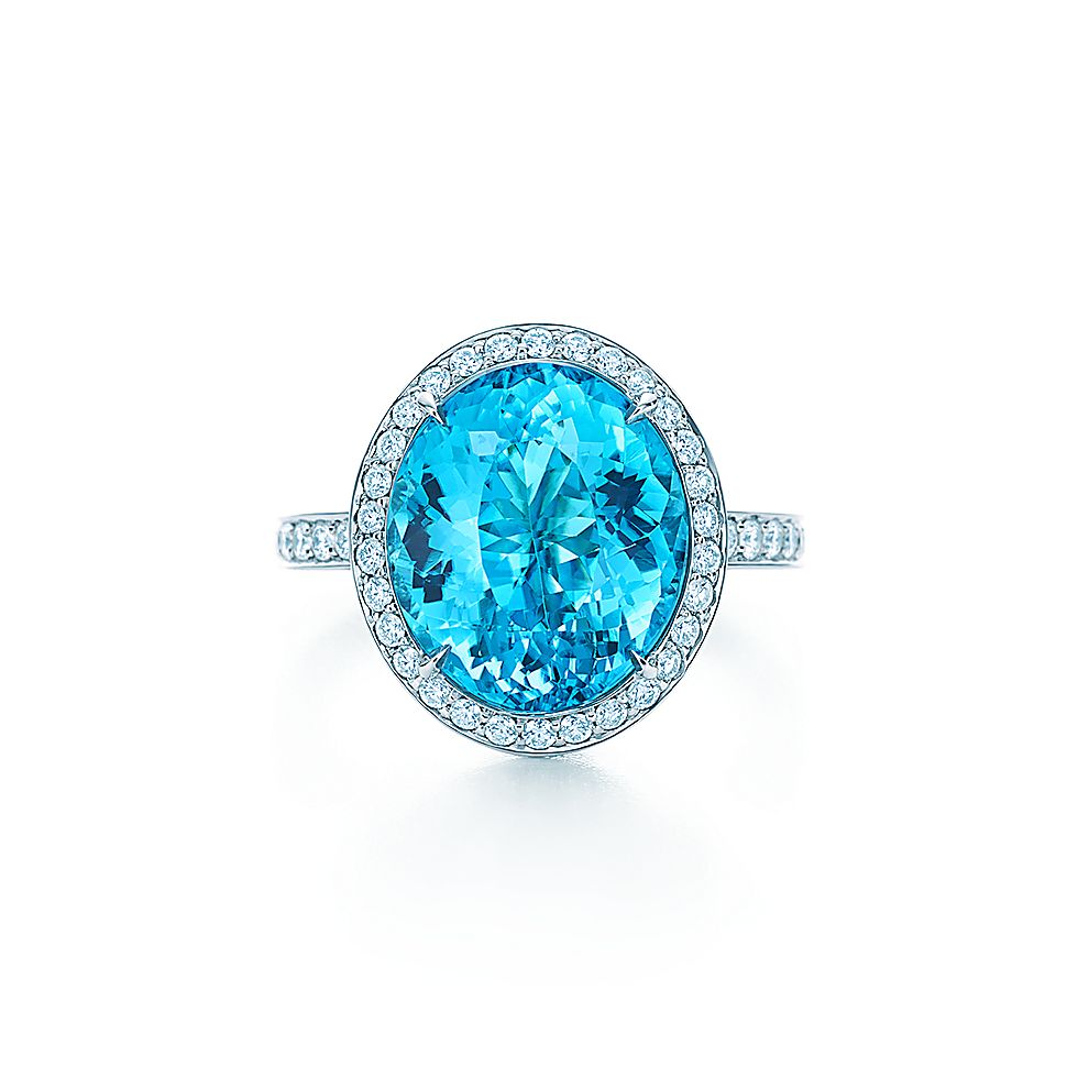 Ring In Platinum With A 5 47 Carat Blue Cuprian Elbaite