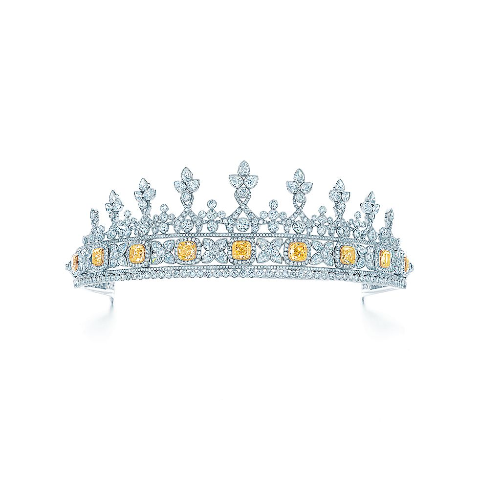 Tiara Of White And Fancy Intense Yellow Diamonds With