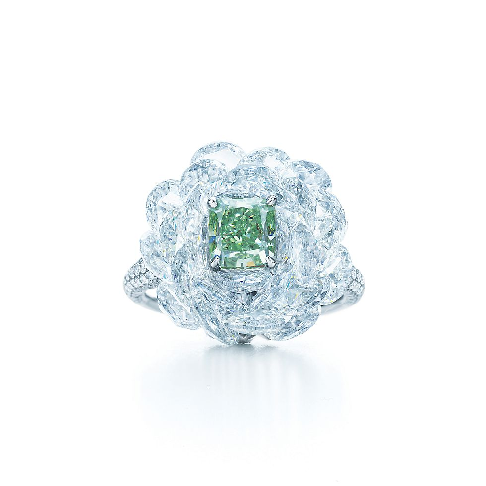 Wedding Anniversary Gift For Parents >> Ring with white diamonds and a 1.21-carat Fancy Vivid Green diamond.   Tiffany & Co.