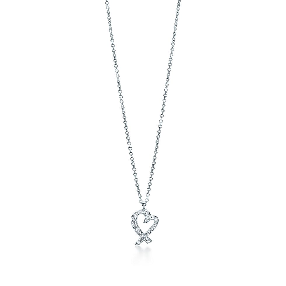 35750312bdca9 Paloma Picasso® Loving Heart pendant in 18k white gold with diamonds ...