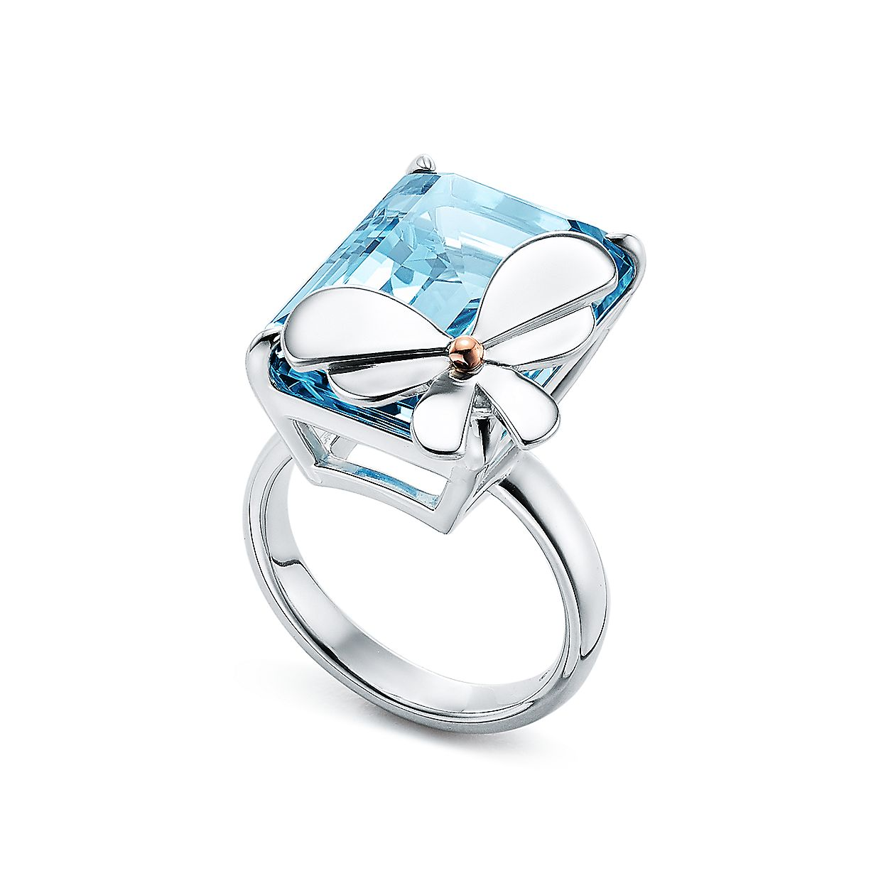 a010610dc Return to Tiffany® Love Bugs:Blue Topaz Butterfly Ring in Sterling Silver  and 18k