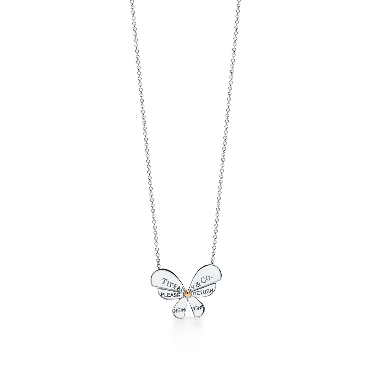 de9d0c229 Return to Tiffany® Love Bugs:Butterfly Pendant in Sterling Silver and 18k  Rose Gold