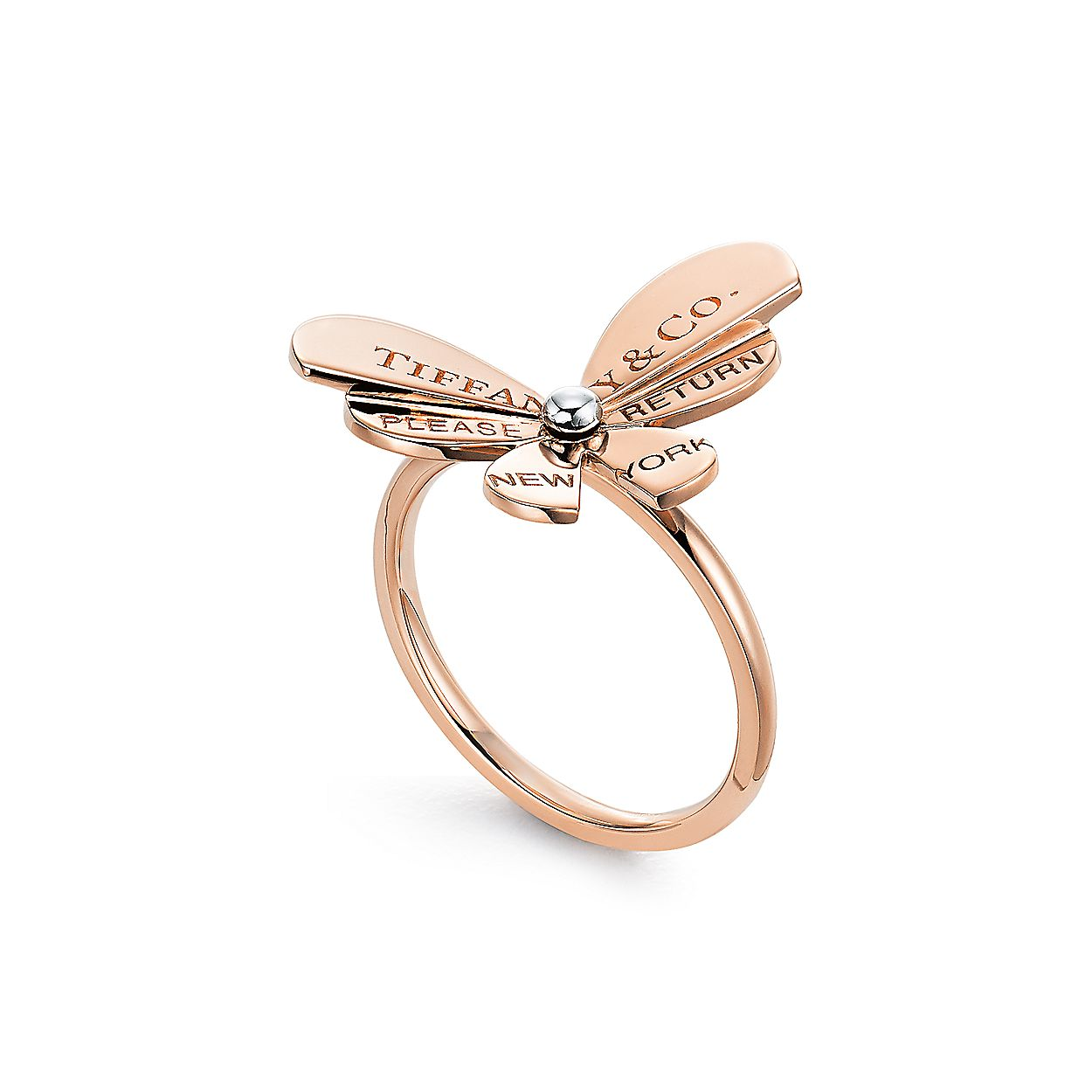 863109a74 Return to Tiffany® Love Bugs:Butterfly Ring in 18k Rose Gold and Sterling  Silver