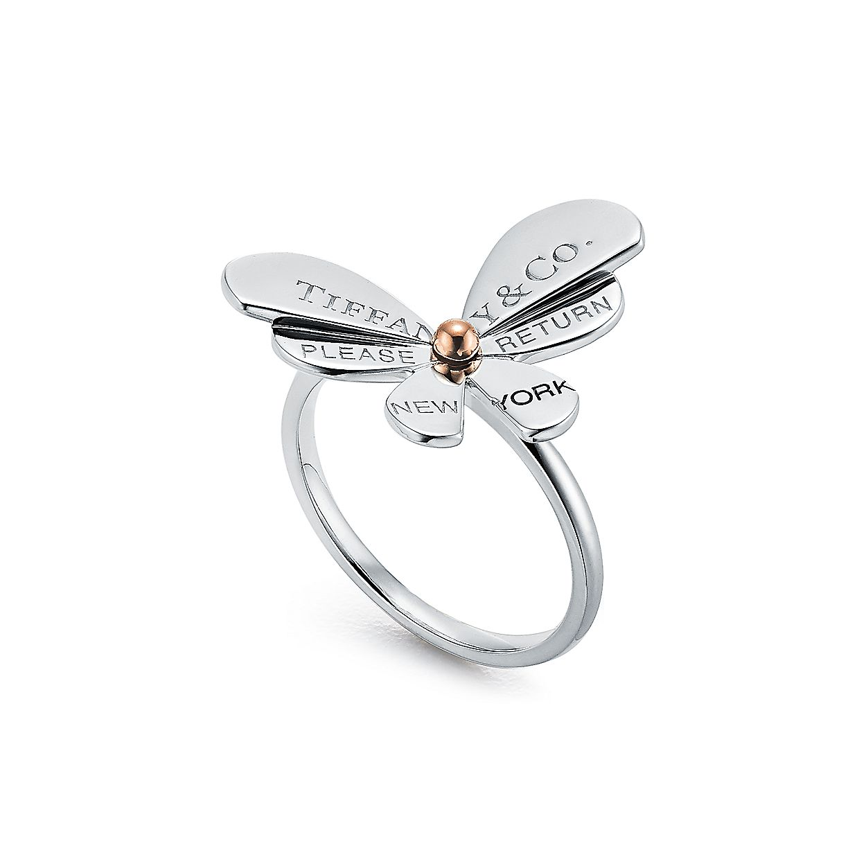 b128f1db7 Return to Tiffany® Love Bugs:Butterfly Ring in Sterling Silver and 18k Rose  Gold