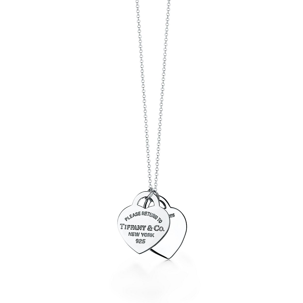 c3e228baf Return to Tiffany® double heart pendant in silver with red enamel ...