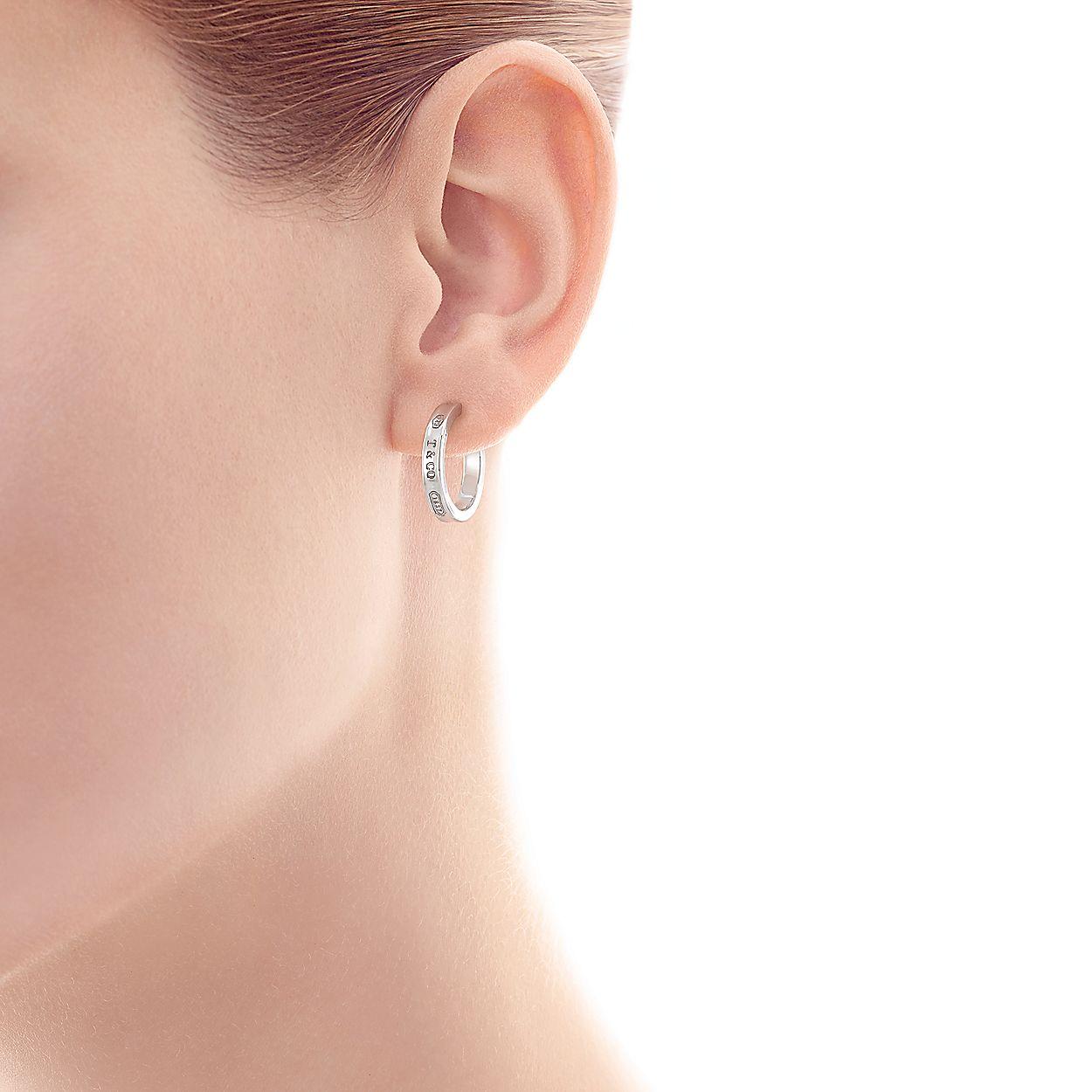 b8e72cfb8 Tiffany 1837® narrow hoop earrings in sterling silver, small ...
