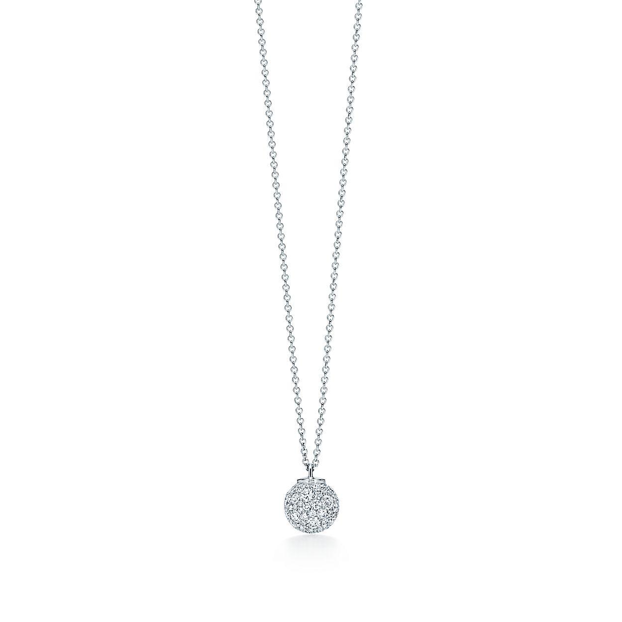 e8e7014d1b02 Tiffany City HardWear ball pendant in 18k white gold with diamonds ...