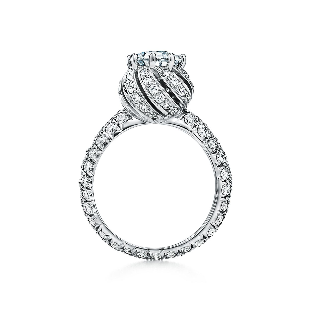 e85c3af22 Tiffany & Co. Schlumberger Buds Round Brilliant Engagement Ring with a  Diamond Platinum Band