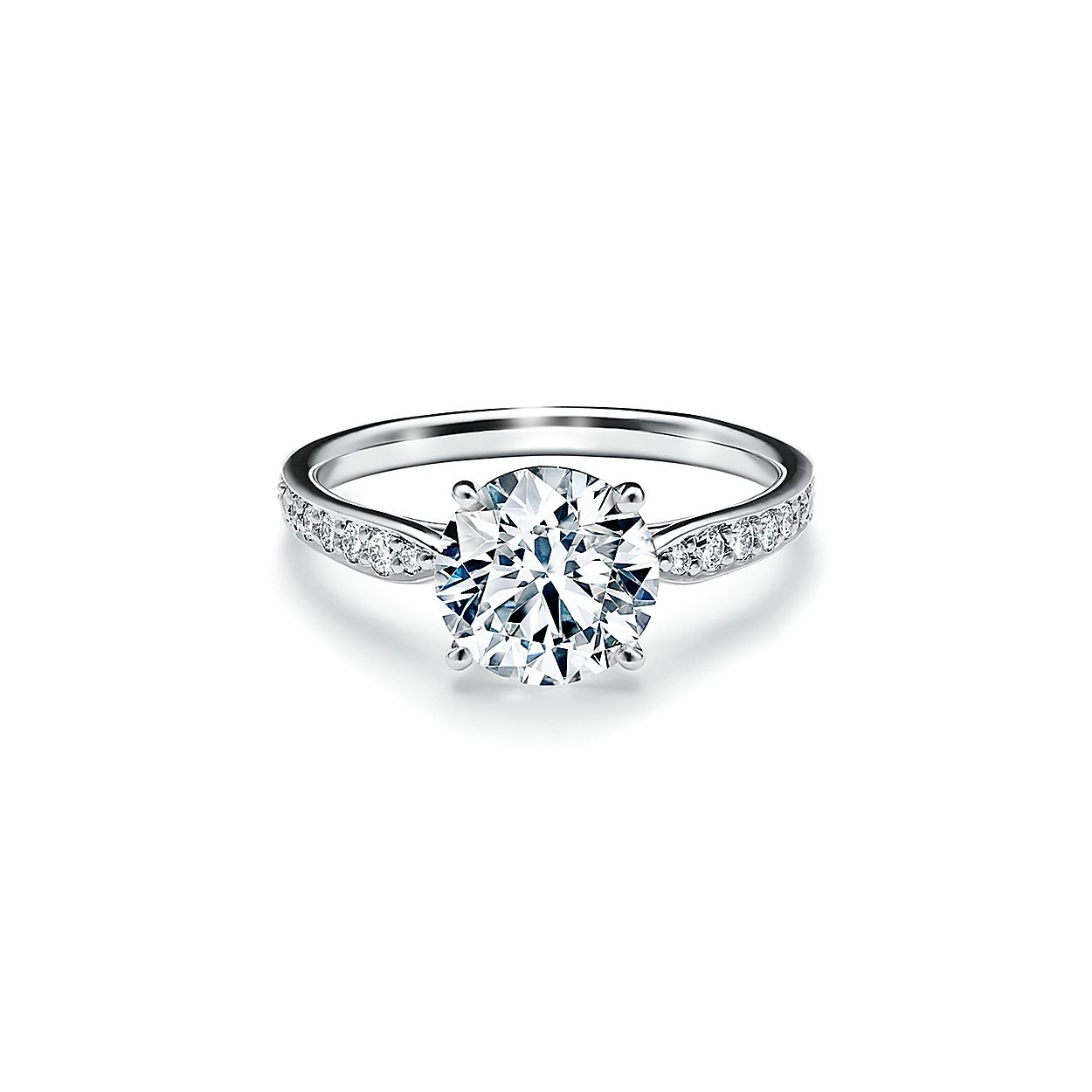 Tiffany Harmony Round Brilliant Engagement Ring With A Diamond Platinum Band