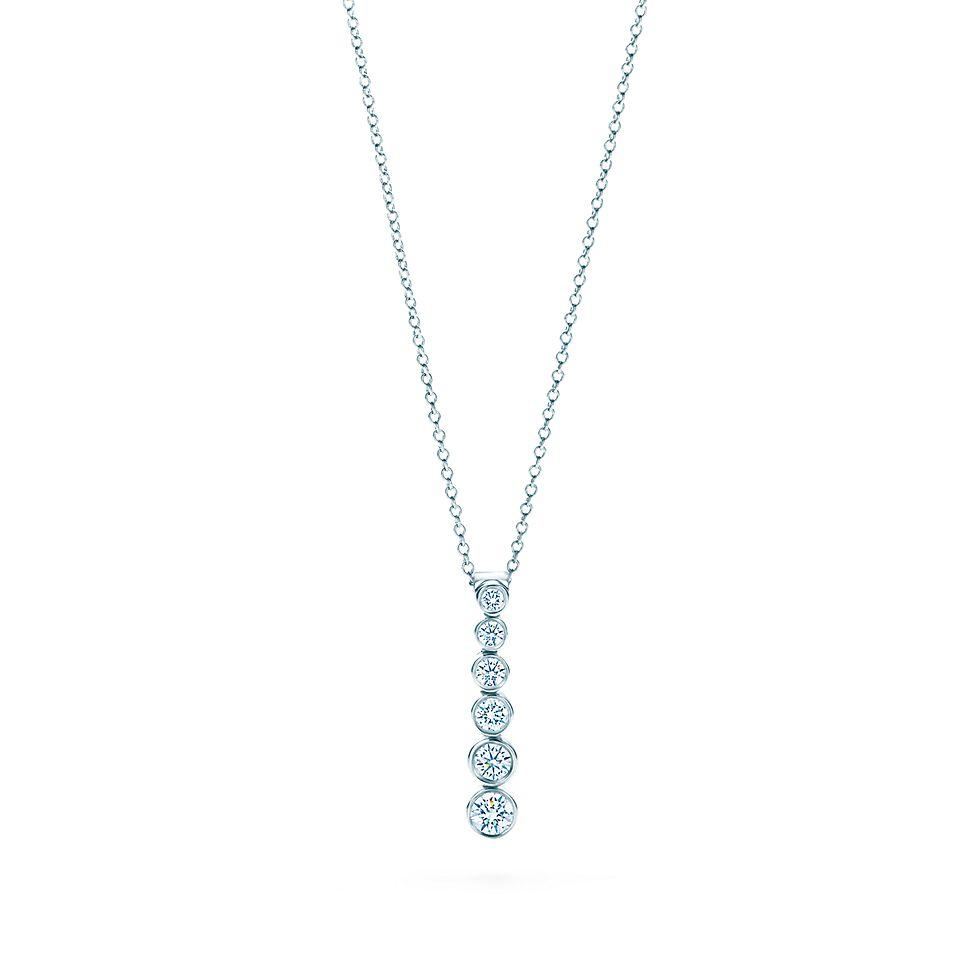 45d070b2046 Tiffany Jazz® graduated drop pendant with diamonds in platinum ...