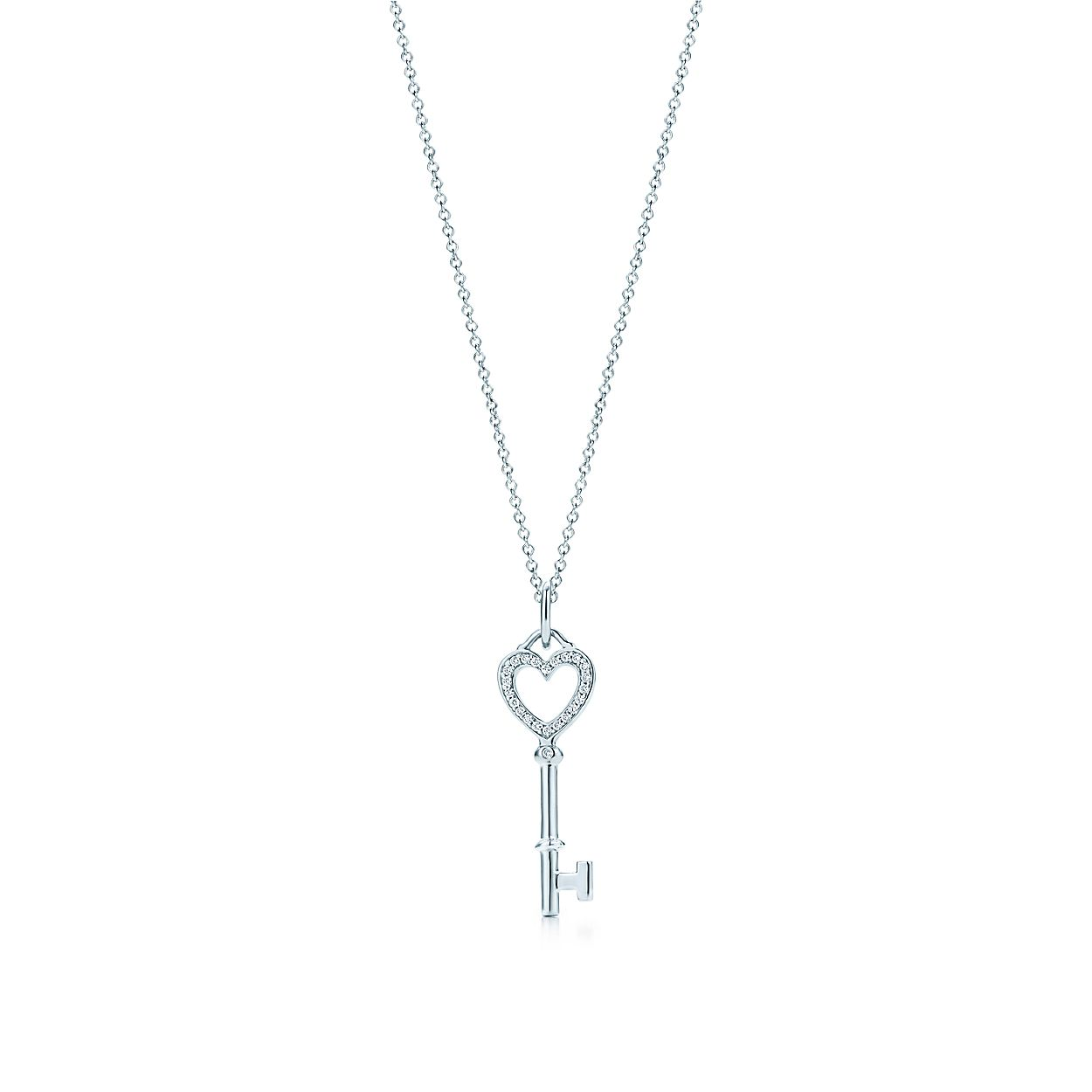 6a225e166111b Tiffany Keys heart key charm with diamonds in 18k white gold on a ...