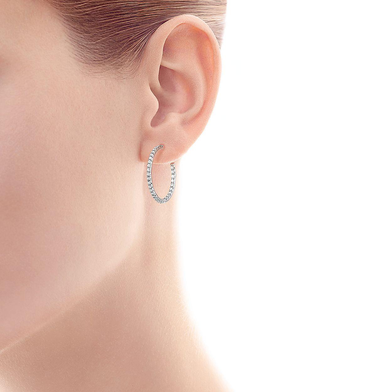 93076a5e0 Tiffany Metro hoop earrings in 18k white gold with diamonds, medium ...