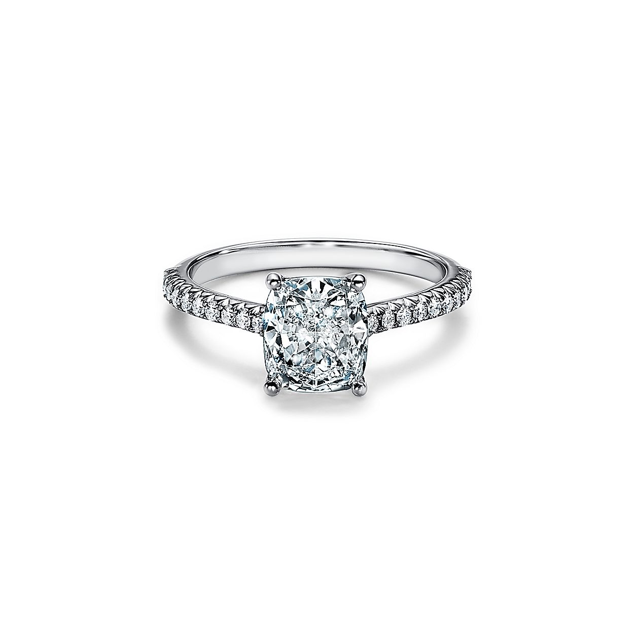 Tiffany Novo Cushion Cut Engagement Ring With A Pave Diamond Platinum Band