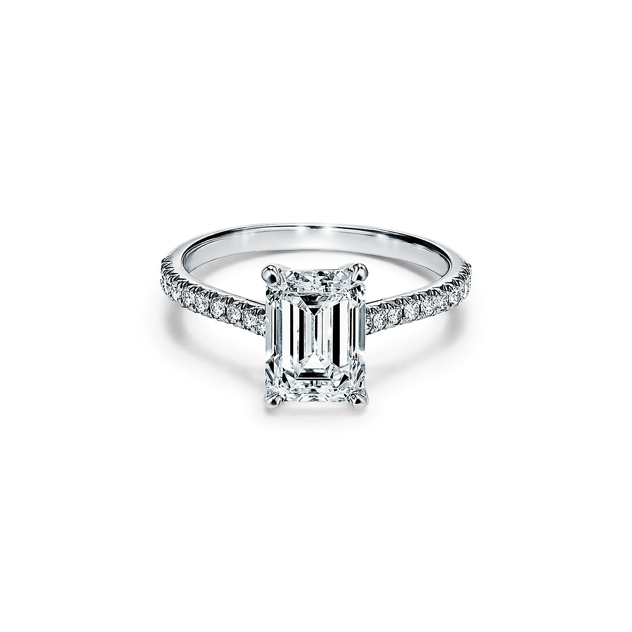 Tiffany Wedding Rings.Tiffany Novo Emerald Cut Engagement Ring With A Pave Diamond Platinum Band