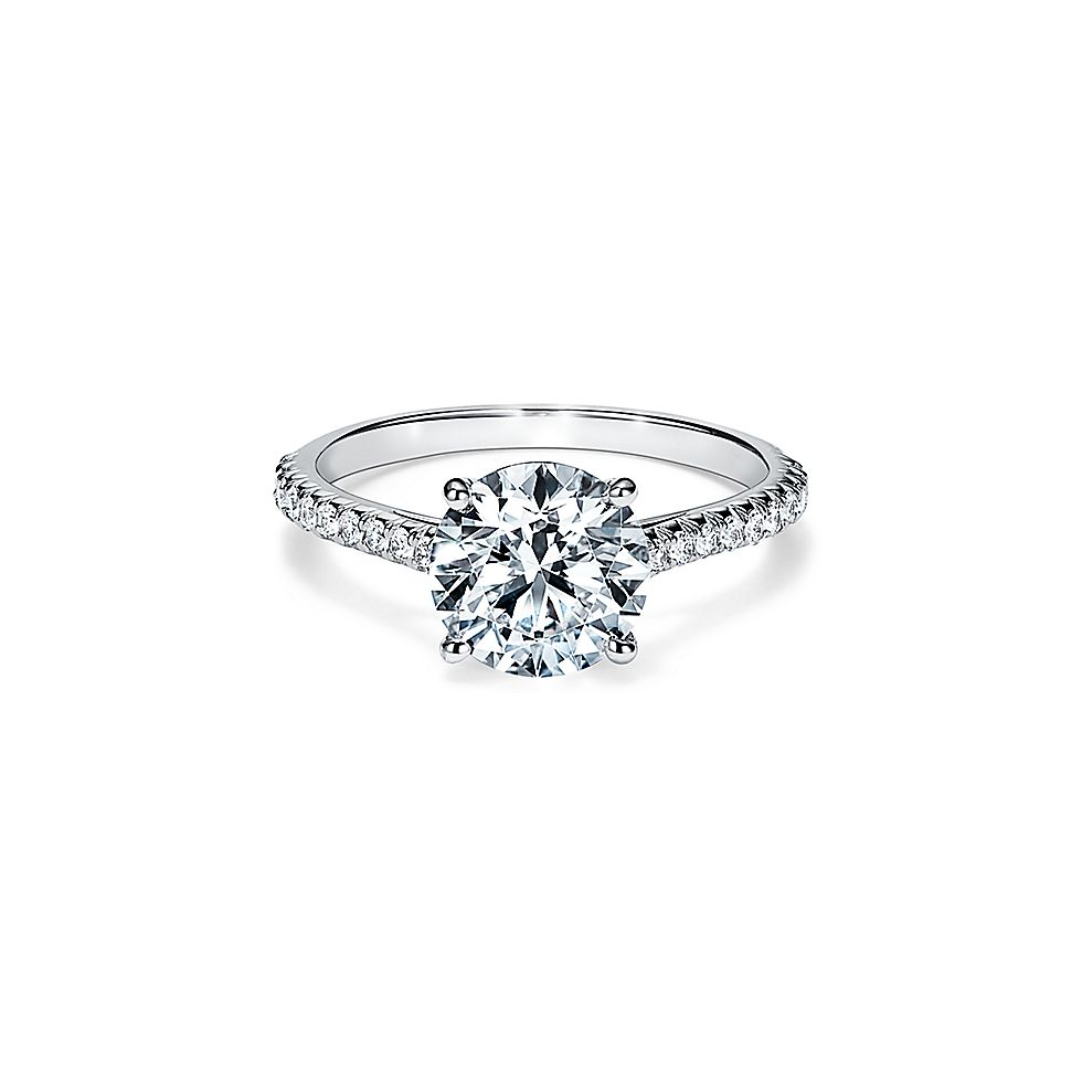 c433ad2315cc0 Tiffany Novo® Round Brilliant Engagement Ring with a Pavé Diamond Platinum  Band